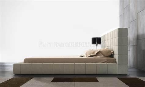 Oversized Tufted Headboard by Md321 Thompson Beige Leather Bed By Modloft