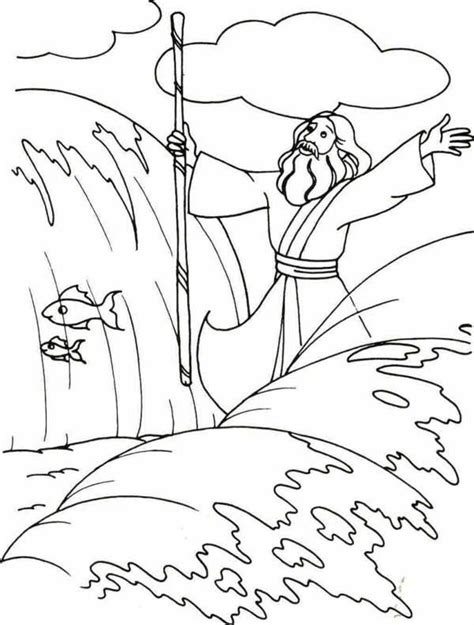 Moses Moses Divide The Red Sea With His Stick Coloring Coloring Pages For Preschool Moses And The Burning Bush