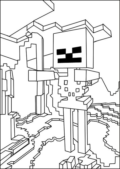 printable minecraft skeleton coloring pages
