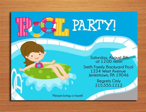 pool invitations free templates free printable birthday pool invitations templates