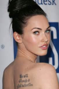 Megan fox has a line from king lear tattooed on her back