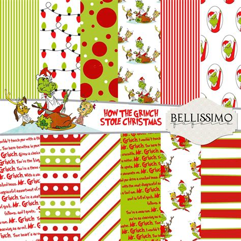 grinch paper images grinch stole inspired scrapbook paper 12 quot x12 quot digital paper 12 papers digital