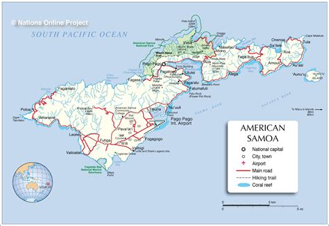 where is samoa on the map world map american samoa