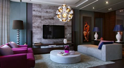 modern living room purple couch interior design living modern with nature tones color blasts