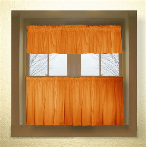 Orange Valances Kitchen orange color tier kitchen curtain two panel set