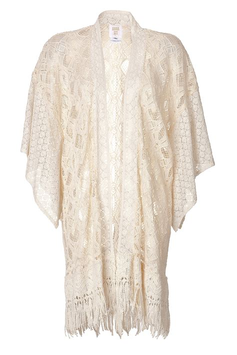 knit kimono sui lace crochet knit kimono in white lyst