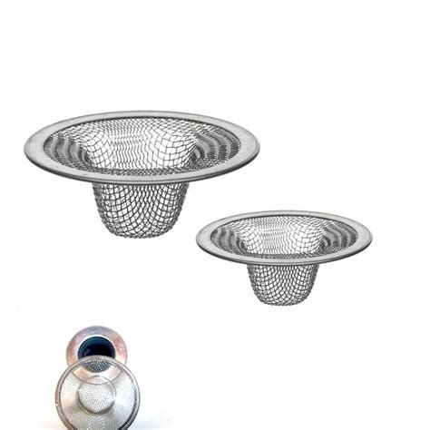 Kitchen Sink Drain 2 Pc Stainless Steel Mesh Sink Strainer Drain Stopper Trap Kitchen Bathroom New Ebay