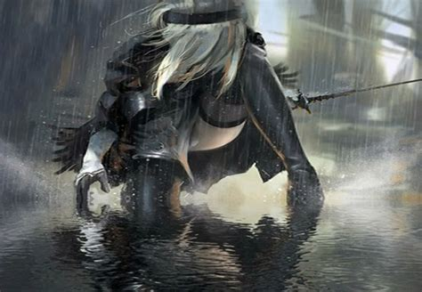 wallpaper engine rain nier automata rain in the shadow 2b wallpaper engine free