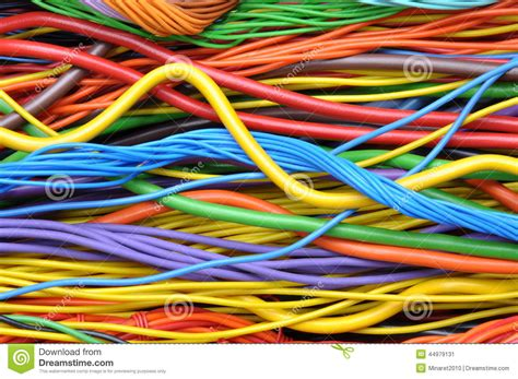 colored electrical cables and wires stock photo image