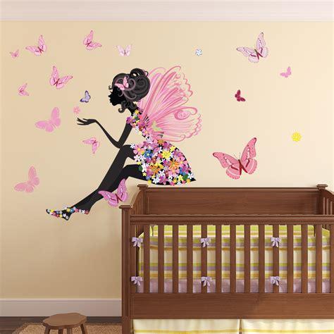 flower fairy wall sticker scene butterfly wall decal girls room nursery decor ebay