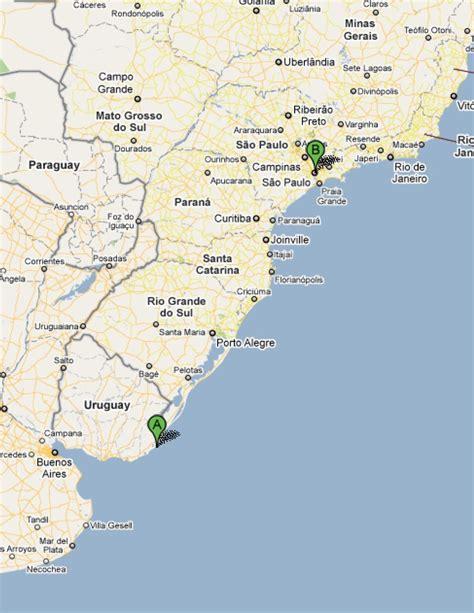 sao paulo on world map map cabo polonio uruguay to sao paulo brazil overland