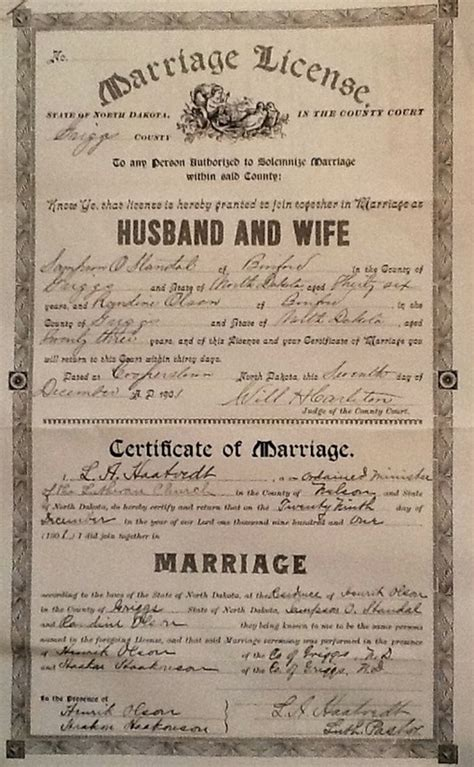 Boston Marriage License Records Great Grandparents Standal Family Genealogy