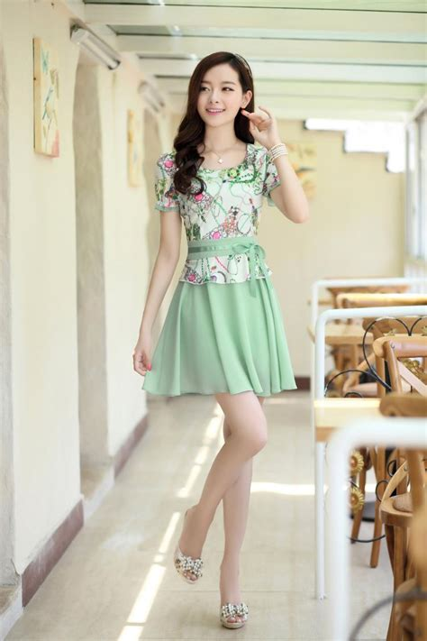 korean fashion sweet chiffon dress neck working