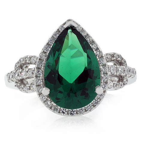 pear cut emerald micropave ring gemross