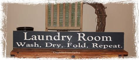 laundry room wash fold repeat large wood sign