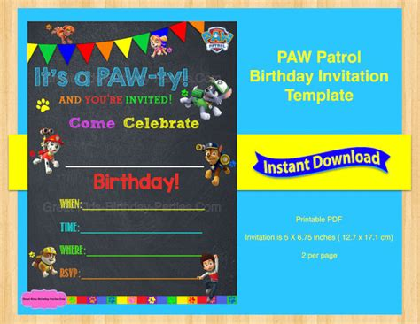 Eos Birthday Card Free Template 4 Per Page by Paw Patrol Invitation Template