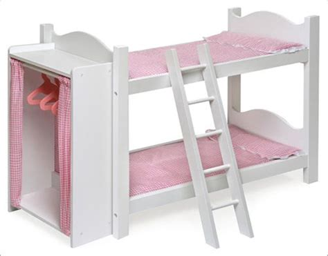 doll bunk beds with ladder and storage armoire wooden doll bunk bed pattern woodworking projects plans