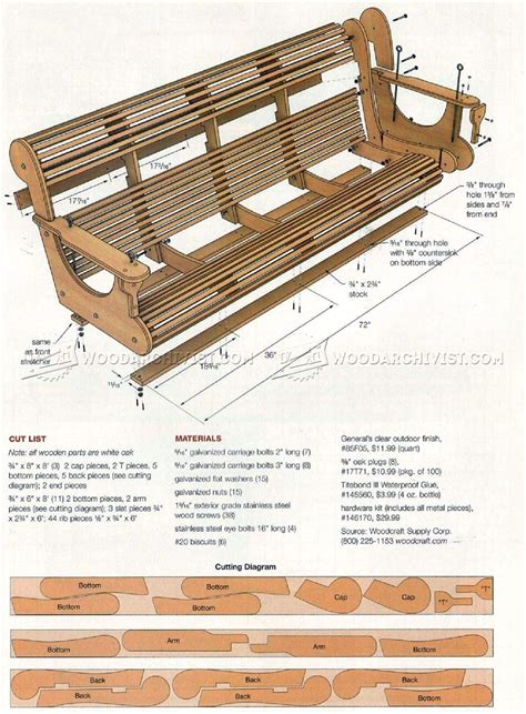 classic porch swing plans woodarchivist