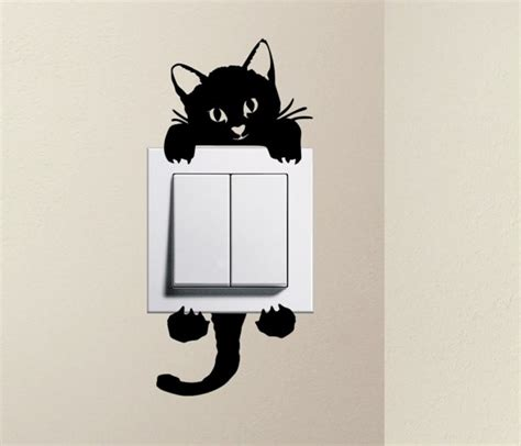 Wall Sticker Black Siluet Uk 60x90 designer cat baby pet light switch decals