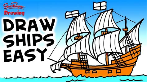 how to draw the mayflower boat how to draw the mayflower easy step by step for beginners