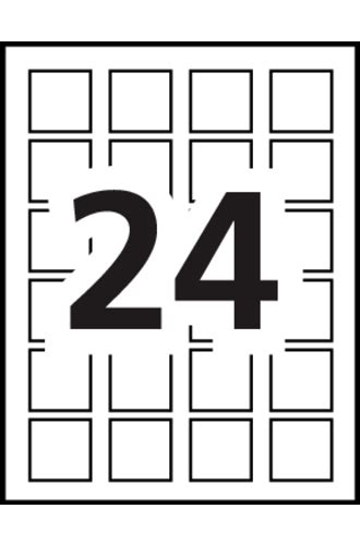 Avery 174 Print To The Edge Square Labels 22805 Template 24 Labels Per Sheet Avery Rectangle Labels Template