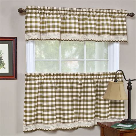 buffalo check taupe gingham kitchen curtain window
