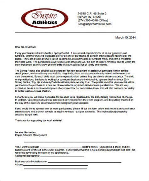 Sponsorship Letter Athlete Sle Sponsorship Letter 9 Exles In Word Pdf