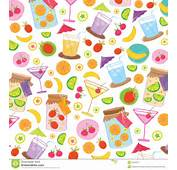 Fruit Juice Drink Cute Cartoon Gift Wrapping Design Vector Stock