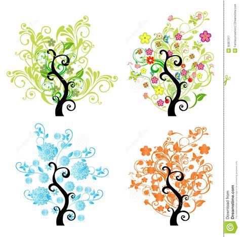 illustration of season trees season trees stock vector image of pink cone green 35367317