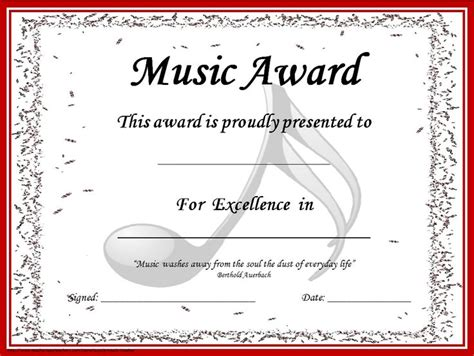 music award certificates editable