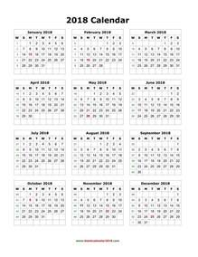 Calendar 2018 Printable Yearly Blank Calendar 2018 Free Excel Templates