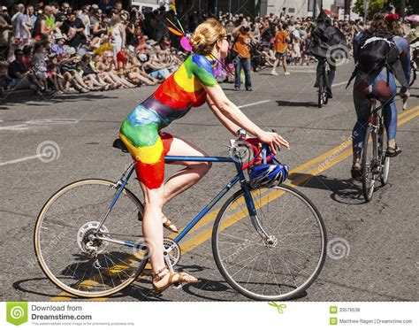Painted Cyclist In Rainbow Editorial Stock Photo Image Of
