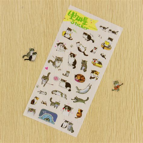 Flower And Cat Diary Deco Stickers Sticker Hiasan Buku 6pcs diy cats transparent sticker lovely pvc diary deco stickers for children gift