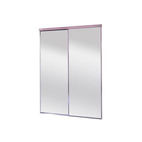 Mirror Sliding Closet Doors Lowes Shop Reliabilt Mirror Panel Sliding Closet Interior Door Common 48 In X 80 In Actual 48 In X