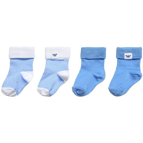 baby socks 2 in 1 armani newborn baby boys blue white sock set pack of