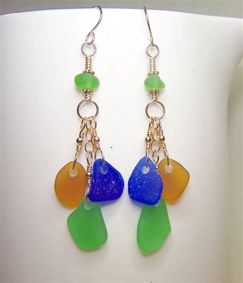 glass jewelry sea glass earrings glass jewelry multi color by