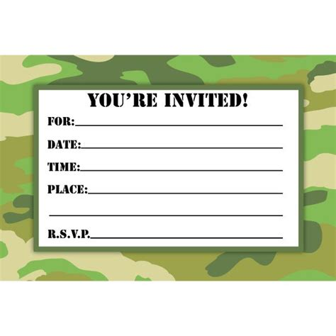 Free Camo Birthday Card Template by Camouflage Birthday Invitations Printable Free