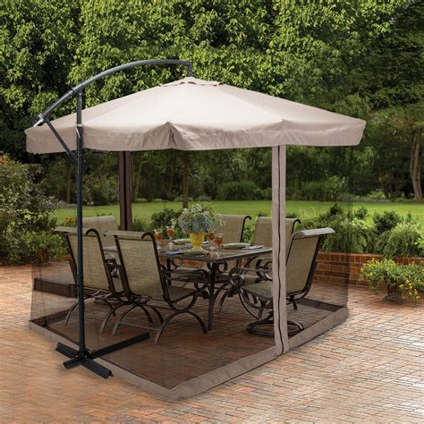 9x9 hanging offset umbrella outdoor sun shade w mesh