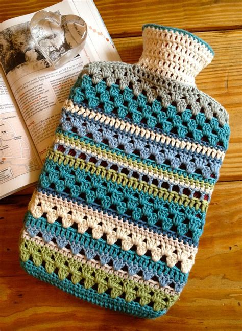 Pattern Crochet Hot Water Bottle Cover | mixed stitch crocheted hot water bottle cover pattern by