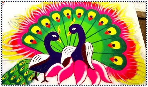 Pooja Decorations At Home Top 50 Latest Best Beautiful Easy Peacock Rangoli Design
