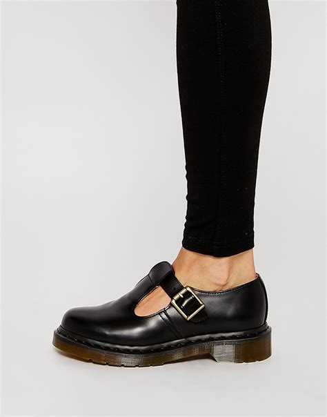 t bar flat black shoes lyst dr martens polley t bar flat shoes in black