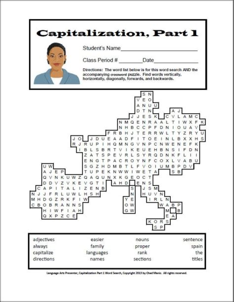 printable word search for language arts language arts crossword puzzles middle school language