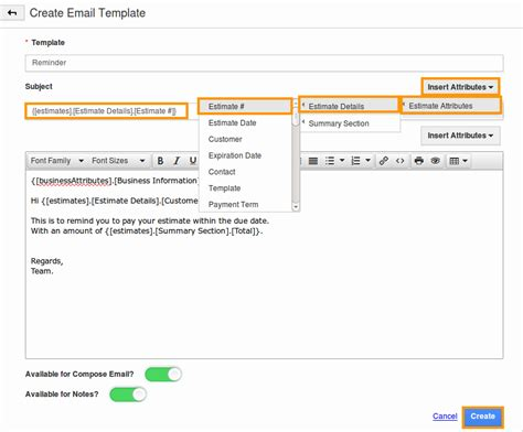 creating email templates message template in estimates app