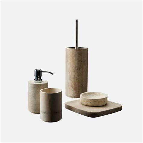 set bagno set accessori bagno pietra e legno fossile design alpino