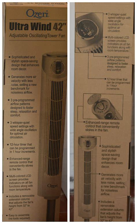 ozeri ultra 42 inch wind fan ozeri ultra wind 42 quot adjustable oscillating tower fan