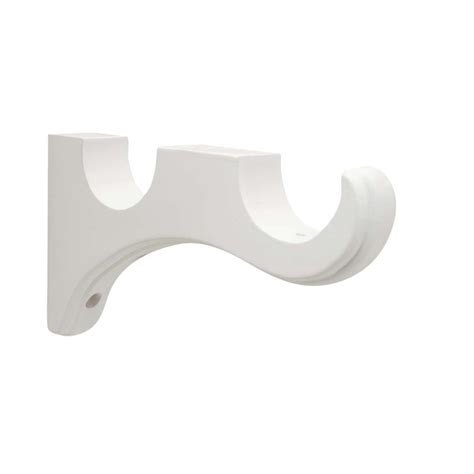 curtain brackets shop allen roth 2 pack white wood curtain rod brackets