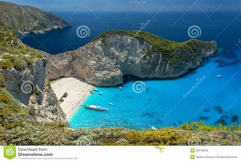 relaxing blue navagio beach zakinthos island greece stock image
