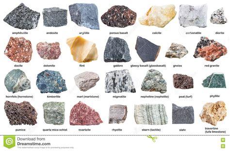Verschiedene Rohe Steine Mit Namen Lokalisiert Auf Wei 223