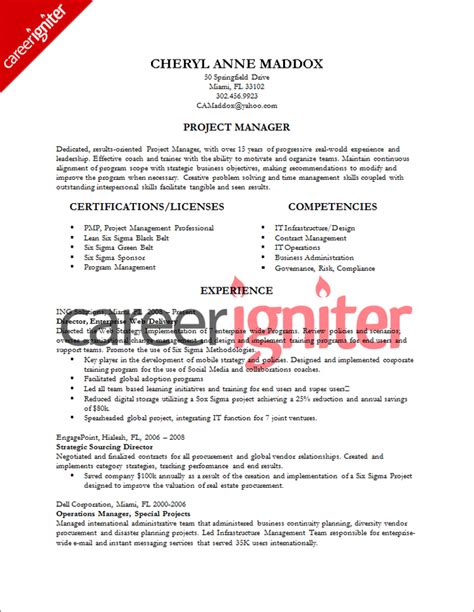 project manager resume format project management resume sle sle resumes