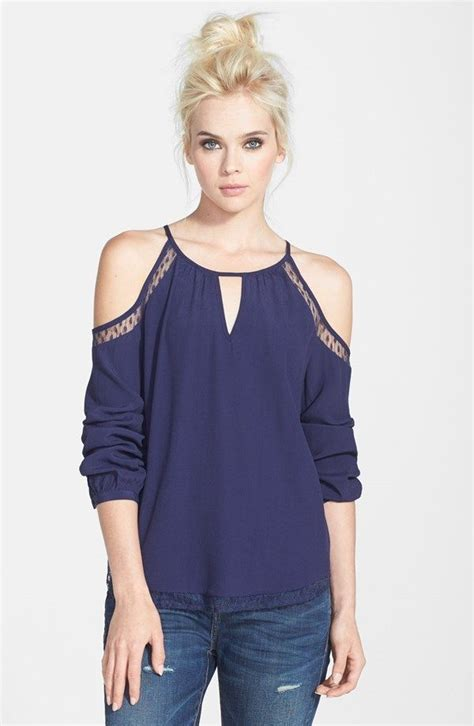 Baju Cut Shoulderblouseporcelain Ruffle Top 1382 best images about blusas on sleeve chiffon shirt and tops